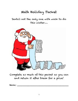 Math Winter Holiday Packet