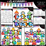 Math Winter Penguins Clip Art & B&W Bundle (3 Sets)