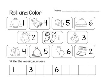 Math Winter Roll and Color