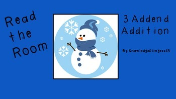 Math- Winter Themed Read and Write the Room ~ 3 Addend Addition