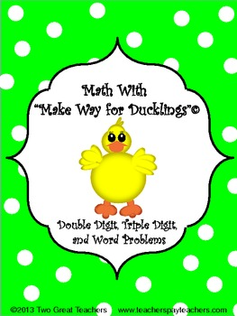 "Math With ""Make Way For Ducklings"""