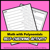 Math With Polynomials Self-Checking Activity