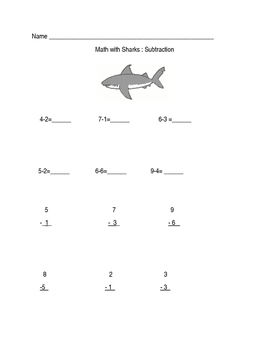 Math With Sharks Subtraction