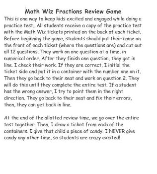 Math Wiz Fractions Review Game (5th Grade)