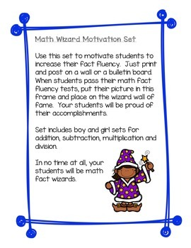 Math Facts Mastery - Math Wizards Motivational Bulletin Board Set
