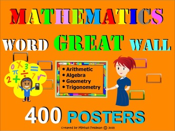 MATHEMATICS WORD GREAT WALL - 400 posters! Vocabulary Builder, Test Prep, Review