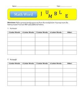 Math Word Jumble