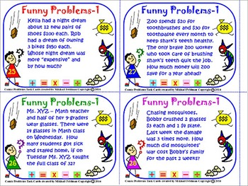 MULTI-STEP MATH FUNNY WORD PROBLEMS:  BOOK – 1, 36 Task Cards, 1-4