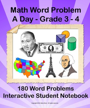 Math Word Problem A Day Bundle - Grade 3 - 4 ISN for the Year!