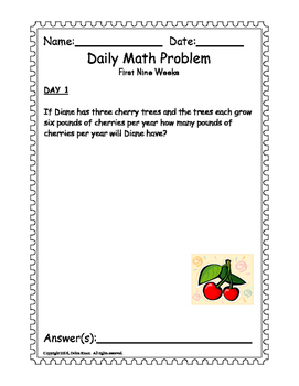 Math Word Problem A Day.  ISN for 3rd 4th grades. First Nine Weeks