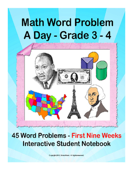 Math Word Problem A Day.  ISN for 3rd 4th grades. First Ni