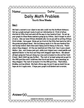 Math Word Problem A Day. ISN for 3rd 4th grades. Fourth Nine Weeks