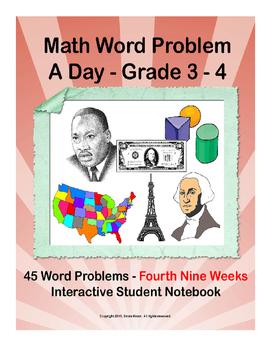 Math Word Problem A Day. ISN for 3rd 4th grades. Fourth Ni
