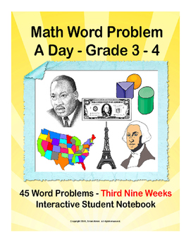 Math Word Problem A Day. ISN for 3rd 4th grades. Third Nine Weeks