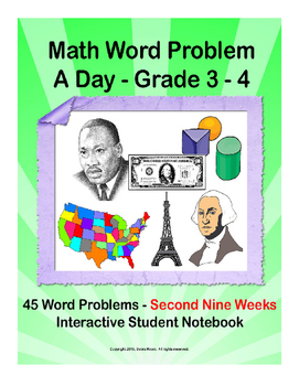 Math Word Problem A Day. ISN for 3rd 4th grades. Second Nine Weeks