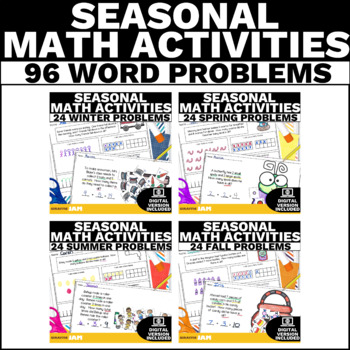 Math Word Problem Activities - Year Long Growing Bundle