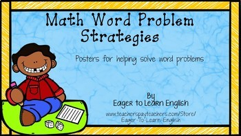 Math Word Problem Anchor Chart Posters & Resources