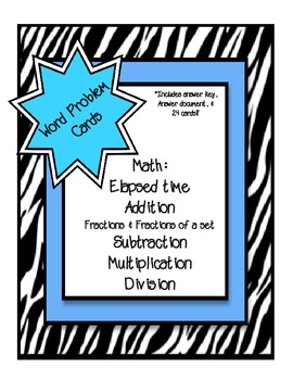 Math Word Problem Task Cards {Zebra Themed}