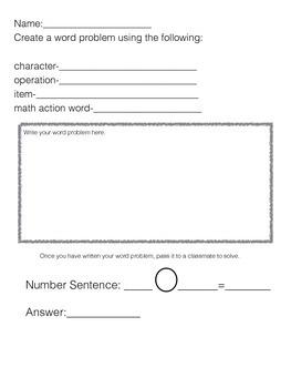 Math Word Problem Creation Activity