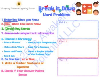 Math Word Problem Graphic Organizer-Break It Down For Word Problems
