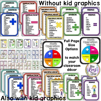 Math Problem Solving Key Word Posters 12 Color Choices