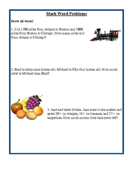 Math Word Problem Morning Work