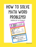 Math Word Problem Poster (Checklist, visuals, examples)