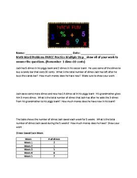 PARCC Practice- Math Word Problems- Area- Fractions- Multi-Step