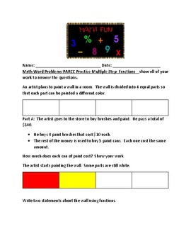 PARCC Practice- Math Word Problems- Area- Fractions- Multi-Step