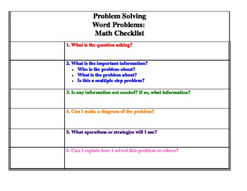 Math Word Problem Solving Bookmark And Go Printable Checklist Tpt