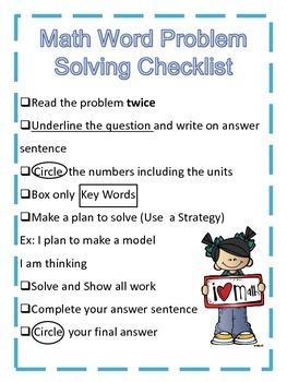 Math Word Problem Solving Checklist