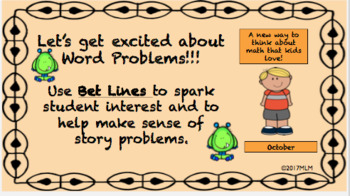 Math Word Problem Solving PowerPoint Lesson using the BET Line Strategy-October