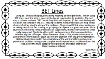 Math Word Problem Solving PowerPoint Lessons: using BET Line Strategy-September