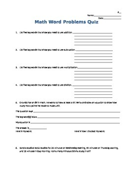 Math Word Problem Solving Strategies Quiz