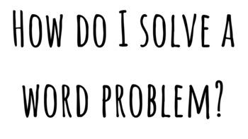 Math Word Problem Steps Anchor Chart