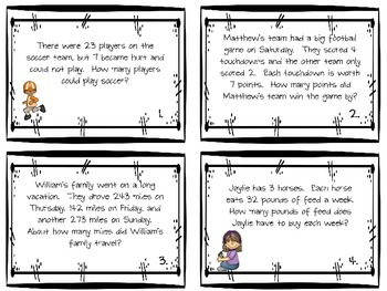 2nd and 3rd Grade Math Problem Solving Task Cards Review