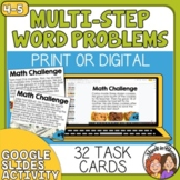 Math Word Problem Task Cards - Multi-Step Math Stories, St