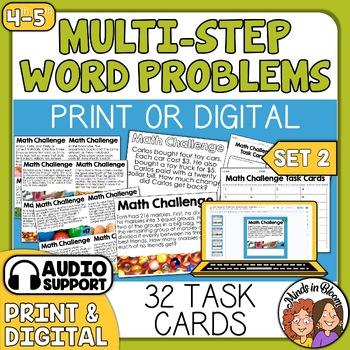 Math Word Problem Task Cards, Multi-Step Math Stories, Story Problems (set 2)