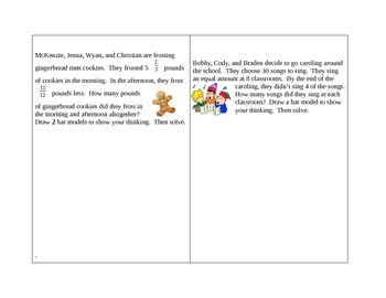 Math Word Problem Task Cards:  Adding & Subtracting Fractions and Mixed Numbers
