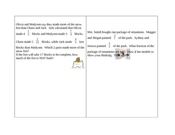Math Word Problem Task Cards:  Adding & Subtracting Fracti