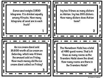 Math Word Problem Task Cards Division