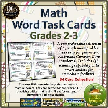 Math Word Problem Activity Center Cards