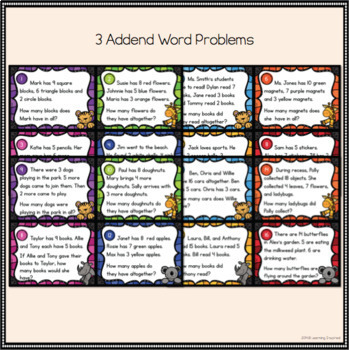 Math Task Cards: Word Problems with 3 Addends