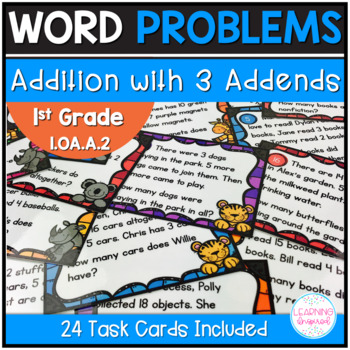 Addition with 3 Addends Word Problem Task Cards