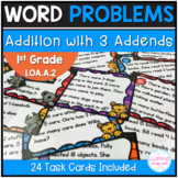 Addition with 3 Numbers Word Problem Task Cards