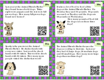 Math Word Problem Task Cards, QR Codes for 2nd and 3rd grade