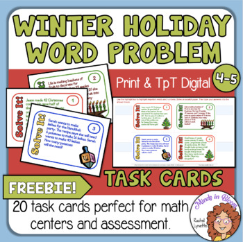 Math Word Problem Task Cards for Christmas, Hanukkah, and Kwanzaa! FREE