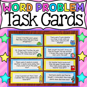 Math Word Problem Task Cards to 10