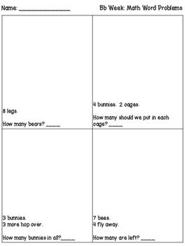 Math Word Problem Worksheets based on Letter of the Week - Kindergarten