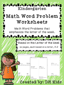 Math Word Problem Worksheets based on Letter of the Week -